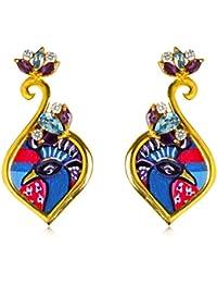 Miranika Gold Plated Stud Earrings for Women (Multi-Colour)(C1D15BDG)