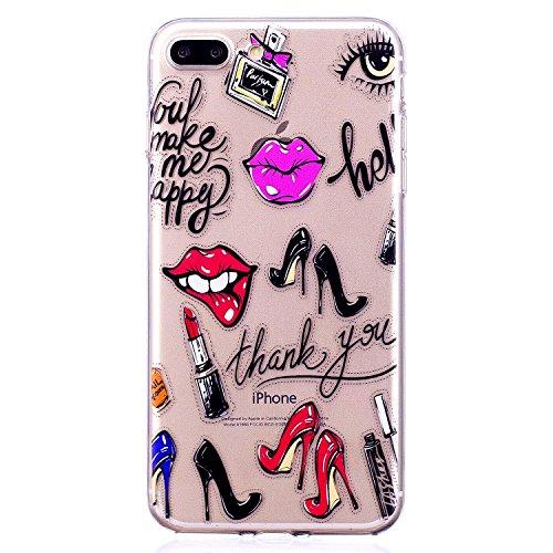 iPhone 8 Plus / iPhone 7 Plus Hülle (5,5 Zoll), Edaroo Kreativ Design Lustig Cute Klar Transparent Weich Slim TPU Silikon Handyhülle Schutzhülle Back Case Cover für iPhone 7 Plus(5,5 zoll)/ iPhone 8 Plus(5,5 zoll) (High Heel Lippenstift Doodle) (High Heels 7)