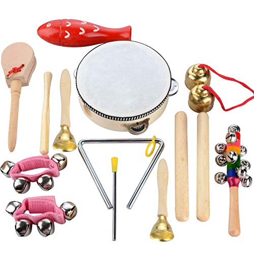Povkeever 14 Pcs Wooden Musical Instruments Set, Toddler Musical Instruments, Education Percussion Toy Rhythm Band Set, Birthday Gift for Kids Boys Girls with Storage Bag