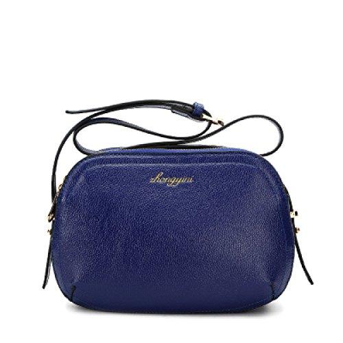 Echtes Leder Frauen Tasche Mini Schulter Messenger Bag Einfache Solid Color Die Erste Schicht Aus Leder Shell Tasche Große Kapazitäts-Frauen Kleine Quadratische Tasche Blue
