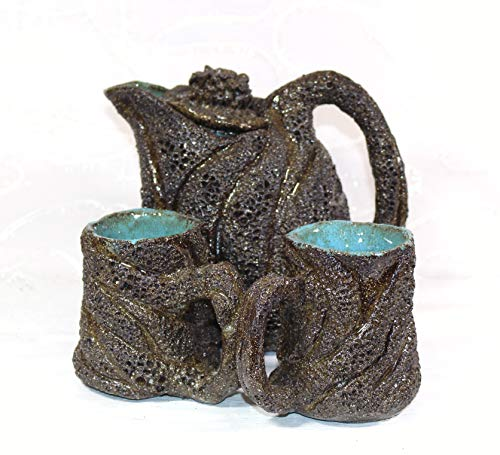 Keramunzel KERA-Mystic Set 2 Tassen 1 gr. Kanne Korallenriff + naturell und elementar Handmade Nr: KM 182 Kunstwerk von Rea Bien -