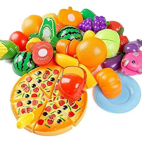 giocattolo di taglio, Finer Shop 24 pezzi Frutta Verdura Cucina Giocattolo Taglio (Bambino Piatti Per Casa)