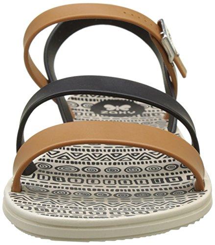 Zaxy - Urban Sandal Ii Fem, Laccetto alla caviglia Donna Noir (Beige/Black)