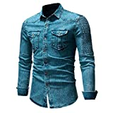 UJUNAOR Herren Freizeithemd Slim Fit Button Shirt mit Tasche Langarmshirts Bluse(3XL,Blau)