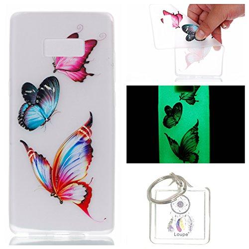 Preisvergleich Produktbild Hülle Leuchtende Galaxy Note8 (6,3 Zoll) Silikon Etui Handy Hülle Weiche Transparente Luminous TPU Back Case Tasche Schale Leuchten In Der Nacht Für Galaxy Note8 (6,3 Zoll) + Schlüsselanhänger (P) (3)