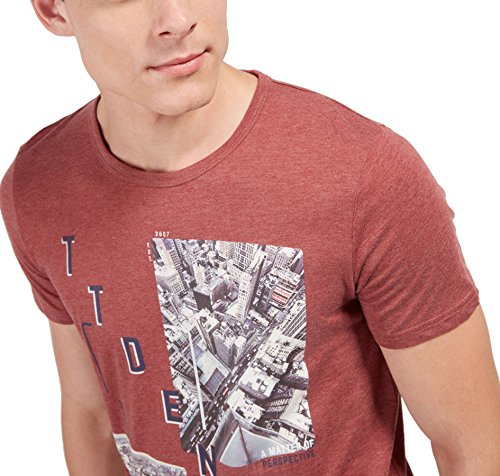 TOM TAILOR Denim Herren T-Shirt Crew Tee with Photoprint fathers pipe red
