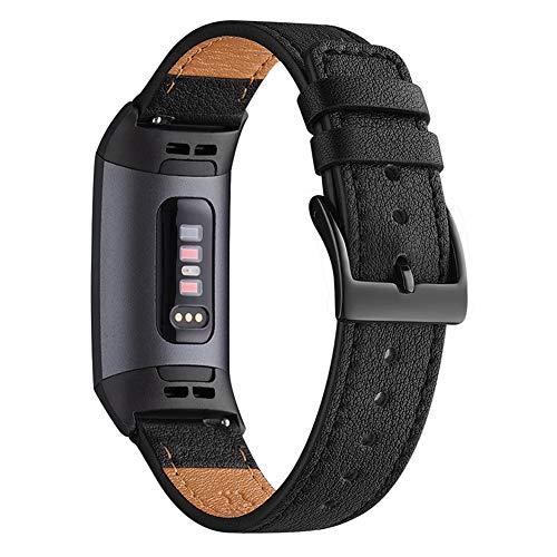 WFEAGL Armband Kompatibel für Fitbit Charge 3 Armband Leder, Klassisch Einstellbares Ersatzarmband Sport Accessories for Damen Männer(ML,Schwarz+Schwarz Adapter)