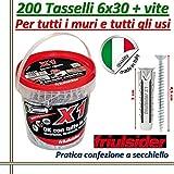 200 TASSELLI UNIVERSALI FRIULSIDER X1 IN NYLON 6X30 mm CON VITE E CON SECCHIELLO
