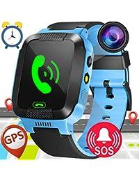 """1.44""""GPS Tracker Smart Watch Téléphone pour Enfants avec Podomètre Caméra SIM Appels Anti-Perdu SOS Smart Smartwatch pour Enfants Filles Garçons Anniversaire Cadeaux (Bleu)"""