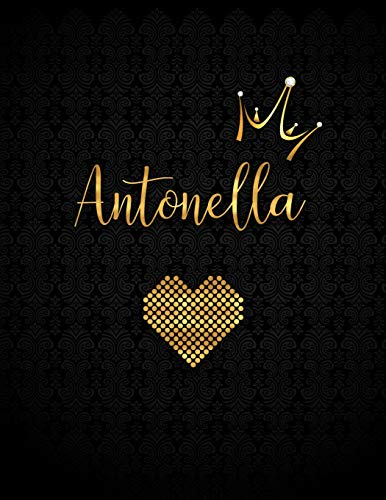 Antonella: Black Personalized Lined Journal with Inspirational Quotes