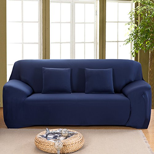 Monba 1234posti covers pure color slipcover dog couch anti-skid easy stretch elastico tessuto protector poltrone covers, poliestere, blue, 3 seater:185-230cm