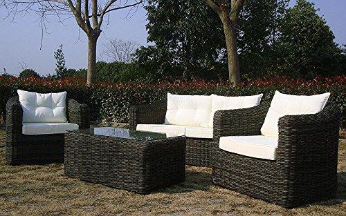 Baidani Gartenmöbel-Sets 10a00009 Designer Rattan Essgruppe Pearl, Tisch – mit Glasplatte, 2-er-Sofa, Sessel, braun - 2