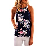 Jimmkey Women Sleeveless Flower Printed Tank Top Casual Blouse Vest T Shirt