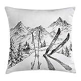 """Krooe Housse de Coussin déco Sport décorée par l'activité hivernale avec l'activité du Ski sur Le Sommet de la Montagne Everest Sketchy Image Taie d'oreiller 18""""x 18"""" Blanche..."""