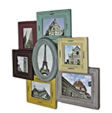 elbmöbel Bilderrahmen Collage Wandrahmen Wechselrahmen bunt Fotorahmen (56x53x3)