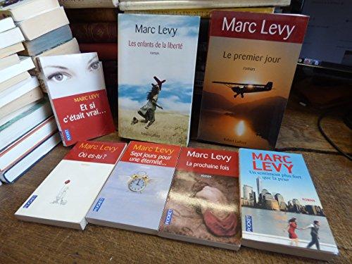 lot de 7 livres de Marc Lévy : où es-tu ? - le premier jour - et si c'était vrai ... - sept jours pour une éternité ... - la prochaine fois - un sentiment plus fort que la peur - les enfants de la liberté