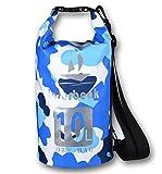 Sacca Impermeabile Borse Dry per Canottaggio, Kayak, Pesca, Rafting, Nuoto, Escursionismo, Campeggio e Snowboard (Camouflage blu, 10L)