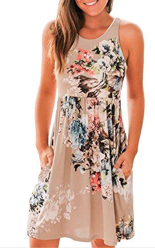 ECOWISH Sommerkleid Knielang Ärmellos Strandkleid Damen Casual Kleid mit Blumendruck Ausgestelltes Brown