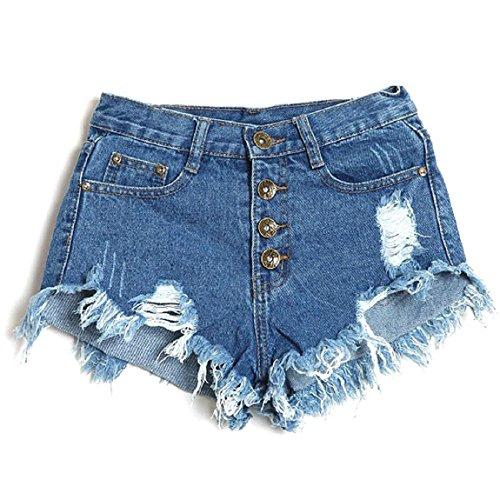Malloom® Frauen Weinlese Hohe Taille Jeans Loch Kurz Jeans Denim Shorts (S, dunkelblau) (Elastische Taille Jeans Frauen)
