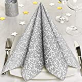 GRUBly Serviettes de Table en Papier Argent Ornaments (Édition LIMITÉE ÉLÉGANCE pour NOËL) | Imitation Textile | pour Mariage, Anniversaire, fêtes | Haute QUALITÉ | 40 x 40 cm | Paquet de 50