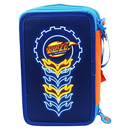 Blaze and the Monster Machines Speed Estuche Escolar Làpices de colores Plumier Triple para Ninos Azul
