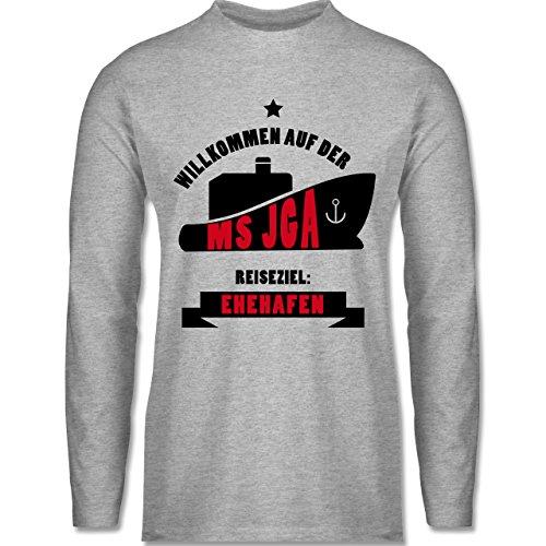 JGA Junggesellenabschied - MS JGA - Longsleeve / langärmeliges T-Shirt für Herren Grau Meliert