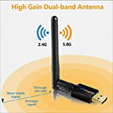 WiseTiger Wlan Adapter AC600Mbit/s Dualband 5G/2.4G Wireless USB WIFI Adapter High Gain Antenna Mini Wlan Stick Network Lan Card Kompatibel Windows10/8.1/8/7/XP/Vista Mac OS--Schnelle Installation,nur 3 Minuten