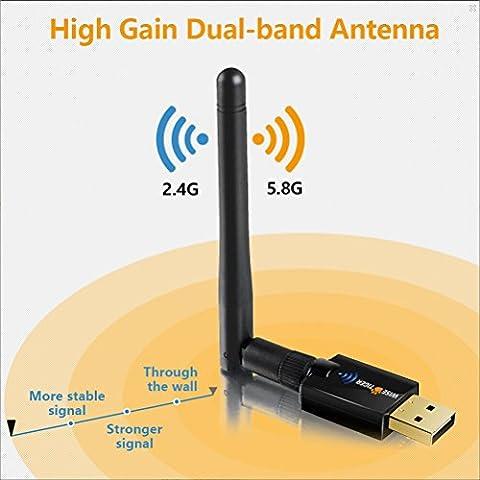 WiseTiger Clé WIFI AC600Mbps Adaptateur Wifi Externe 2Dbi Antenne Dongle WIFI USB Dual Band (5GHz/2.4GHz)Longue Portee Compatible Windows10/8/7/ XP/ Vista Mac 10.12-10.6