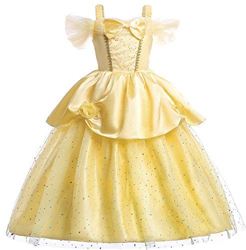 nzessin Kleid Mädchen Kleider Belle Kostüm Prinzessin Kleid Off Shoulder Schulterfrei Falten Volant Rock Cosplay Verkleidung (Belle-kostüm Plus Size)