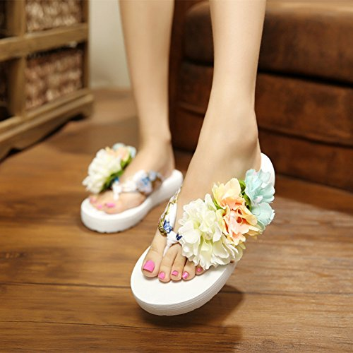 Butterme Frauen Floral Sommer Satin Keil Flip Flops mit Blume DIY schmücken böhmische Sandalen Strand Schuhe Sandale