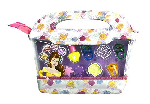 Zauberhaftes Beauty-Geschenk-Set mit Kosmetiktasche für Fans der schönen Disney-Prinzessin Belle aus Der Schönen und das Biest (abziehbarer Nagellack, Lidschatten, Lipgloss, Schmuck)