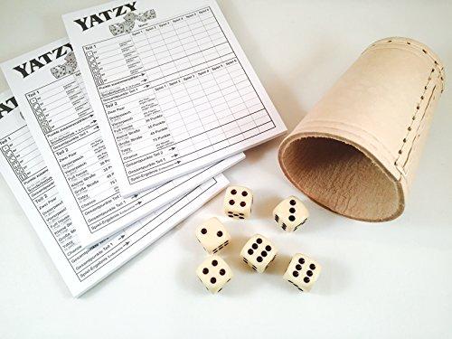 Set Würfelbecher aus Leder / 6 Würfel / 3 x Spielblöcke Yatzy