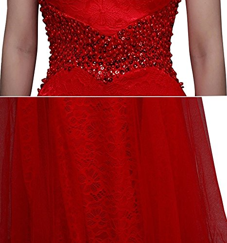 Drasawee Damen Cocktail Kleid Rot - Rot