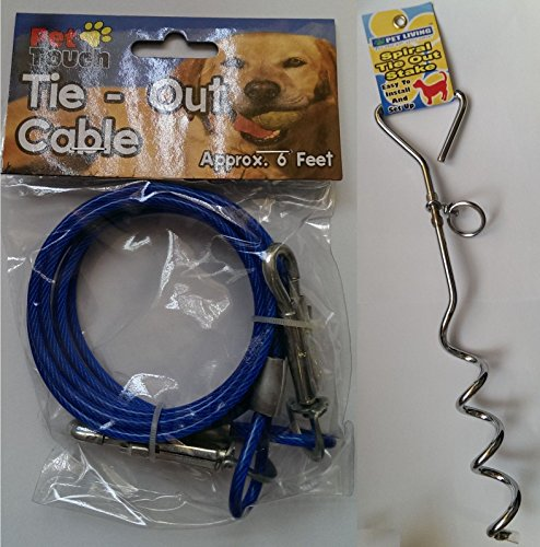 dog-6ft-garden-tie-out-cable-pet-lead-strong-wire-with-spiral-ground-stake-spike-blue