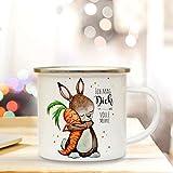 Emaille Tasse Becher Ostern Hase Häschen Kaffeebecher Camping Becher mit Spruch Ich mag dich volle Möhre eb28 ilka parey wandtattoo-welt®