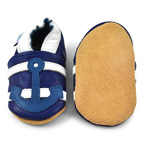 Juicy Bumbles - Weicher Leder Lauflernschuhe Krabbelschuhe Babyhausschuhe mit Wildledersohlen. Junge Mädchen Kleinkind 0-6 Monate 6-12 Monate 12-18 Monate 18-24 Monate Anker