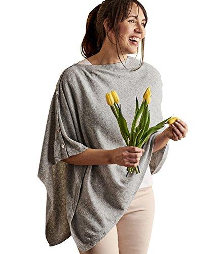 Wool Overs Poncho mit Knöpfen aus Merino- und Kaschmirwolle für Damen Flanellgrau, 1size (Wrap Cardigan Wolle Merino)