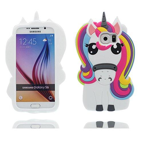 Samsung Galaxy S6 Hülle, 3D Cartoon Einhorn Cover Samsung Galaxy S6 Handyhülle, TPU Material stilvoll dauerhaft, Staub Rutsch kratzfest- unicorn thumbnail