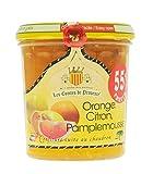 Confiture d'Agrumes Orange, Citron et Pamplemousse Les Comtes de Provence, cuite au chaudron traditionnel en Provence au sucre de canne, naturelle et sans conservateurs - Lot de 3 pots de 340 g
