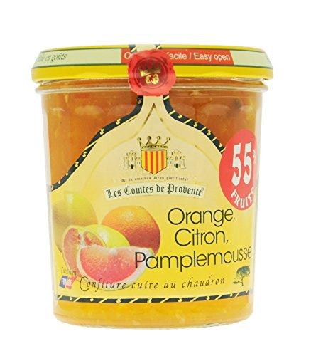 Confiture dAgrumes Orange, Citron et Pamplemousse Les Comtes de Provence, cuite au chaudron traditionnel en Provence au sucre de canne, naturelle et sans conservateurs - Lot de 3 pots de 340 g