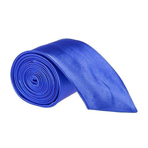 "Robelli Homme Uni Fin / Skinny 2"" Cravate Satin - Diverses Couleurs Bleu Roi"