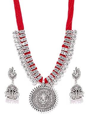 Youbella Antique German Silver Oxidised Plated Tribal Cotton Thread Necklace Earring Set For Women & Girls