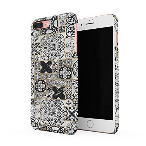 Black Moroccan Ornaments Mosaic On White Marble Dünne Rückschale aus Hartplastik für iPhone 7 Plus & iPhone 8 Plus Handy Hülle Schutzhülle Slim Fit Case Cover