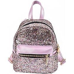 Amlaiworld Bolsos mochila de mujer niñas mochila de viaje Bolso de lentejuelas para mujer Bolso de escuela de mujer (Multicolor, 16cm*10cm*20cm)