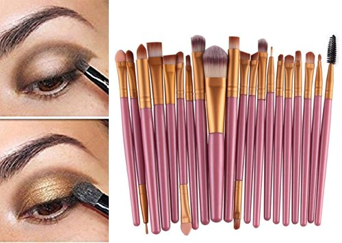 Demarkt Pro Wool Make Up Brush Set 20 pcs Makeup Brush Set tools Make-up Toiletry Kit (Gold # 2)+Gift( Nail stickers)