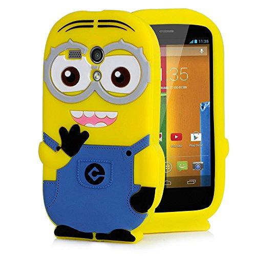 Heartly Cute Cartoon Minion Soft Rubber Silicone Flip Bumper Best Back Case Cover For Motorola Moto G XT1031 XT1032 Double Eye