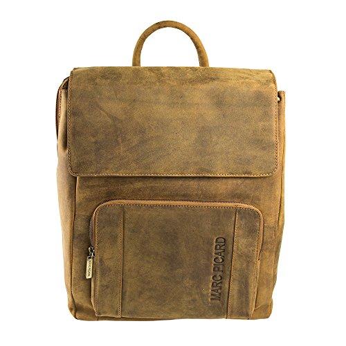 Marc Picard handgearbeitete sehr großer Hunter Lederrucksack Größe XL Laptop Rucksack bis 15,6 Zoll, für Damen und Herren, Schulrucksack Uni Reise, Cityrucksack (Hellbraun TAN)
