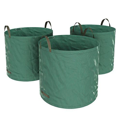 SONGMICS 3er Set Gartensack, 300 L Gartenabfallsack, Abfallsack für Gartenabfälle, faltbar, grün, GTS300GN