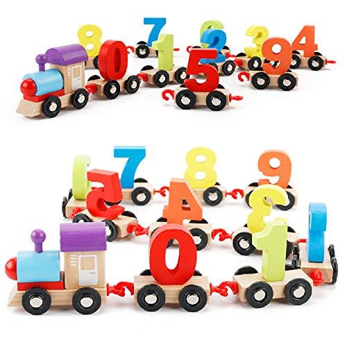 Blocchetti di costruzione in legno per bambini digitale artigianato in legno edilizia blocchi treno agganciare cucitura forma colore riconoscimento apprendimento educativo giocattoli in età prescolare