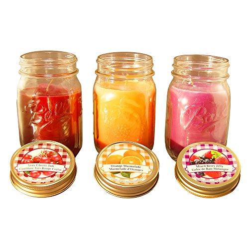 LumaBase 269033zählen Jam und Jelly Kollektion in Mason Gläser Duft Kerzen, 12oz, multicolor (Garten Düfte Soja-kerze)